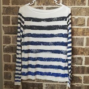 ❤Ann Taylor Loft Blue Stripe Top